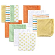 Luvable Friends 12 Pack Washcloths, Yellow