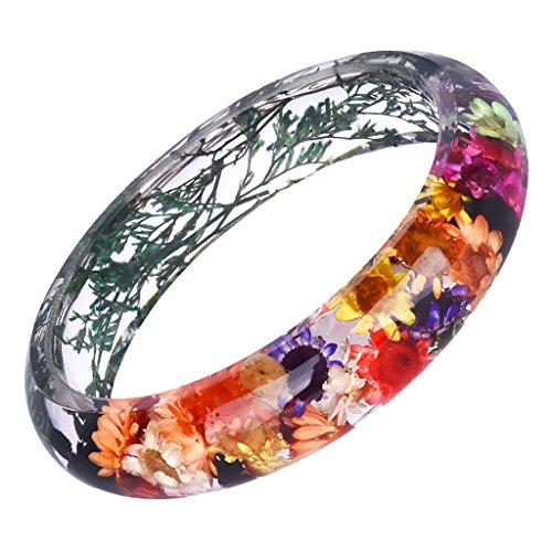 MonkeyJack Handmade Lucite Plastic Dried Flowers Incased Resin Women Bracelet Bangle - Multi-color 1