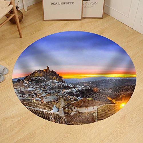 Gzhihine Custom round floor mat View over Montefrio in Granada Spain Towards the Moorish Castle on the Hill. by Gzhihine