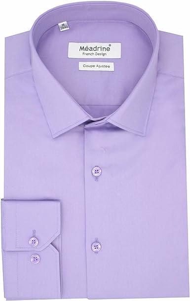 Meadrine Hombre Camisa Recta Corte botón de Paso pequeños Unidos 1 Lila: Amazon.es: Ropa y accesorios
