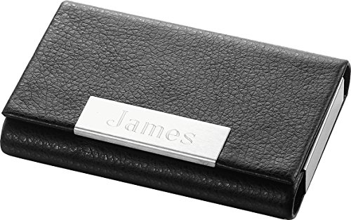 Personalized Marlin Black Leather Business Card Case