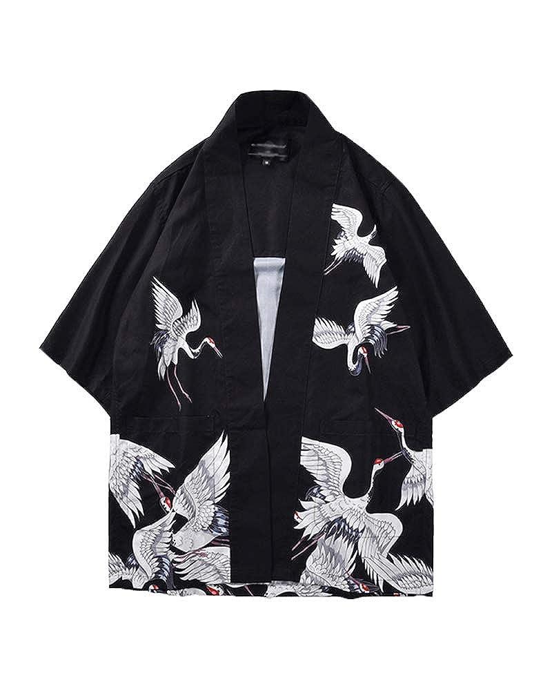Kimono Cardigan Hombre Mujer Chaqueta con Estampado Manga 3/4 Tops Blusa