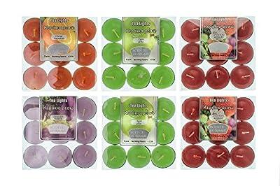 Highly scented tea lights candles set 54pcs 4 flavors assortment tealights (6x9-packs) 4 scents Lavender Strawberry Apple Orange