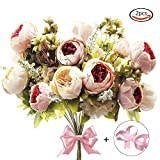 APLANET 2 Pack Artificial Peony Silk Flowers Bouquet (Champagne) with a roll of Satin Ribbon (Pink)...