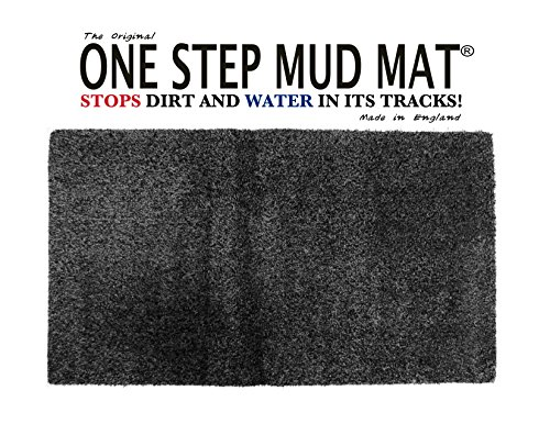 (One Step Mud Mat Original Made in England 19W x 31L Small Door Mat.(Black) Indoor Floor Mat with Non Slip Backing Traps Mud and Dirt Perfect for Pets Excellent for High Traffic Areas )