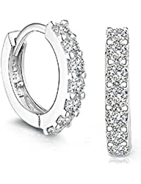 925 Sterling Silver Hoop Diamond Stud Earrings for Women