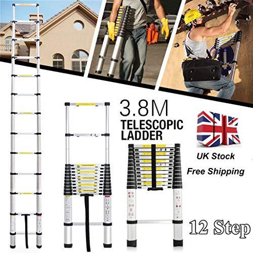 Aluminum Telescopic Ladder 3.8M/12.5FT Max Load 330LB Extendable Ladder Telescopic Folding Loft Ladder 5 Years Warranty