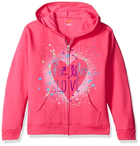 Hanes Big Girls' Ecosmart Graphic Full-Zip Fleece Hoodie, Amaranth, (Fleece Full Zip Sweatshirt)
