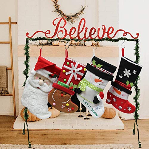 FORUP Believe Christmas Stocking Holder Stand Hangers (The Best Christmas Stockings)