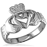 Wide Lightweight Ladies or Mens Claddagh Ring in 14K White Gold