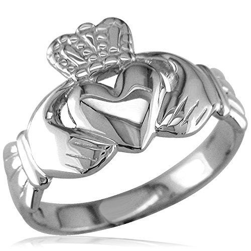 Wide Lightweight Ladies or Mens Claddagh Ring in 18k White Gold size 9.5
