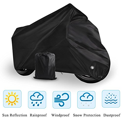 Motorcycle Cover Universal Fit Oxford Fabric Waterproof Breathable Rain Sun UV Dust Outdoor All Weather Protection with Lock Hole (Fits Motorbike up to 96'', Black) by LEDKINGDOMUS (Image #1)