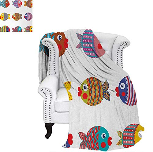 Summer Quilt Comforter Puffers Toadfish Colorful Childish Fish Family with Folk Patterns Children Nursery Digital Printing Blanket 60