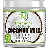 Coconut Milk Exfoliating Body Scrub - Natural Coconut Oil Skin Exfoliator for Face Hand Lip & Body with Sea Salt & Shea Butter, Acne & Eczema Treatment, Stretch Mark Scar & Cellulite Remover