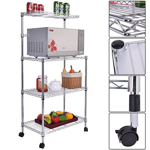 3-Tier Kitchen Baker's Rack Microwave Oven Stand Storage Cart Workstation Shelf Tech Glide Mirrors