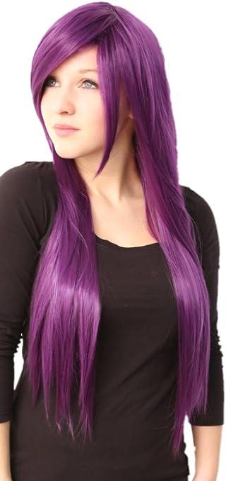Prettyland C416-80cm peluca larga resistente al calor de Cosplay del pelo sintético suave de color púrpura oscuro bonita del país