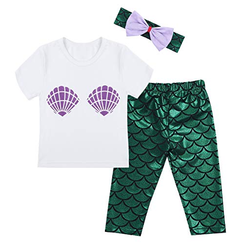FFreebily 3pcs Baby Girls Sequined Mermaid Costume Outfit Shell Pattern Tank Tops T-Shirt Leggings Pants with Headband (24 Months, White & Green)