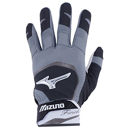 Fastpitch Softball Batting Glove - Mizuno Finch Adult Women's Fastpitch Softball Batting Gloves, Medium, Black/White