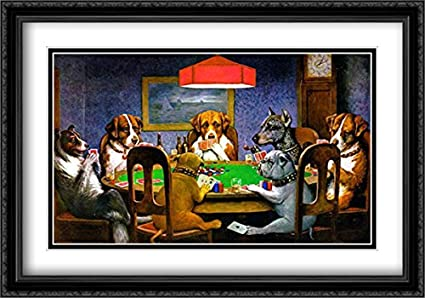 ec3b168f136 A Friend in Need Dogs Playing Poker 2X Matted 40x28 Large Black Ornate  Framed Art
