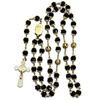 Blue White Style St Benedict Gold Plated Black Crystals Rosary Beads Miraculous Medal Catholic