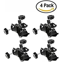 Selens 4 Pieces Heavy Duty Metal Dual Double U Clip C Clamp Type Bracket Mount for Photo Studio Boom Arm Light Stand