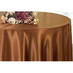 "Wedding Linens Inc. 90"" Round Seamless satin tablecloths Table Cover Linens for Restaurant Kitchen Dining Wedding Party Banquet Events - Copper"