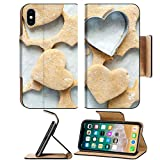 Luxlady Premium Apple iPhone X Flip Pu Leather Wallet Case IMAGE ID: 22267291 Heart shaped cookie cutter on raw cookie dough with a few cookies