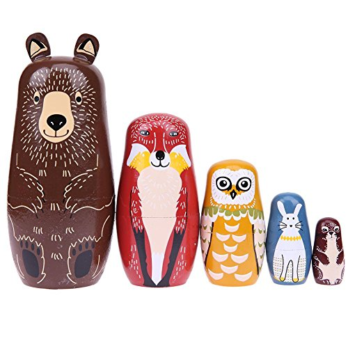 Childplaymate Matryoshka Dolls 5pcs Basswood Dog Type Handmade Russian Nesting Dolls Birthday Gift for Kids Decoration (K) from Childplaymate