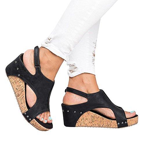 Platform Hook ThusFar Sandals Casual Black Peep Belt Buckle Wedges Summer Women Sandals Loop Sandals Pu Toe O8rSnOqwU