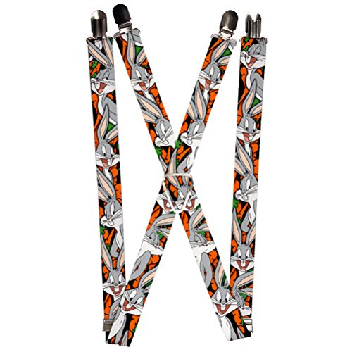 Buckle-Down Suspenders-Bugs Bunny Expressions/Carrots Black