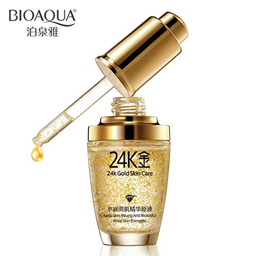 (BIOAQUA 24K Gold Essence Collagen Skin Face Moisturizing Hyaluronic Acid Anti-Aging Mask Natural Extract)