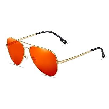Gafas Gafas de sol polarizadas antideslizante Anti-UV (Color : Naranja)