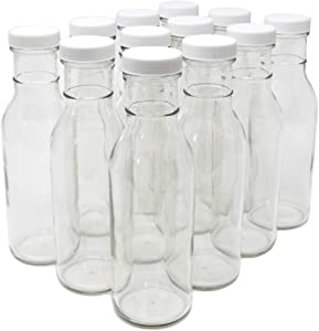 nicebottles Clear Glass Beverage/Sauce Bottles, 12 Oz, White Caps - Case of 12