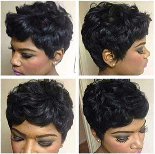 : BeiSD Short Ombre Brown Black Curly Hair Wigs For Black Women Synthetic Short Wigs For Black Women African American Women Wigs (AS-713)