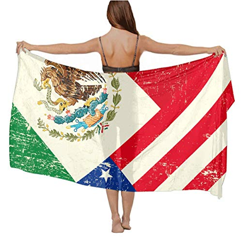 Elegant Oversized Chiffon Shawl Scarf for Women Beach Wrap Swimsuit Sarong Bikini Coverup - Mexico Mexican USA America Flag