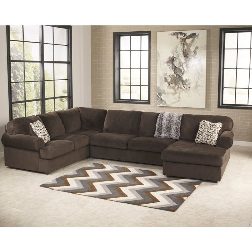 StarSun Depot Signature Design by Ashley Jessa Place 3-Piece Left Side Facing Sofa Sectional in Chocolate Fabric 145