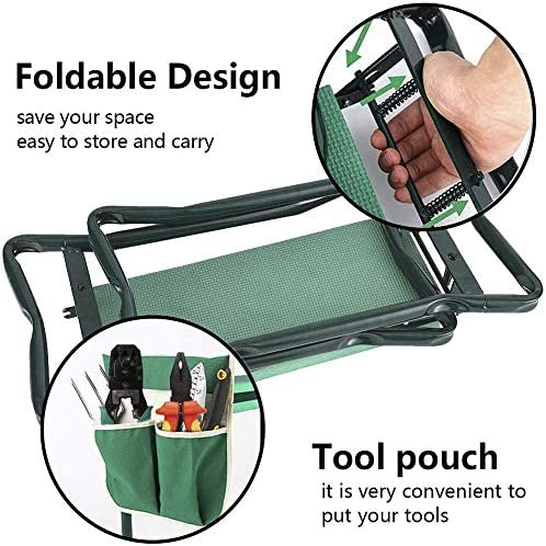 Garden Kneeler Seat with Upgraded Thicken Kneeling Pad and 2 Large Tool Pouch, Foldable Stool 330lb Capacity-Protects Your Knees, Clothes from Dirt & Grass Stains
