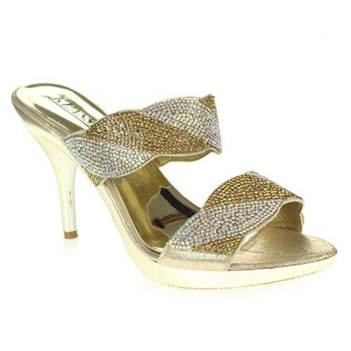 Punta Noche Prom Señoras Zapatos Tamaño Diamante Alto Oro Abierta Mujer La Fiesta Sandalias Tacón De Ponerse Nupcial Por Bodas xI8fw7