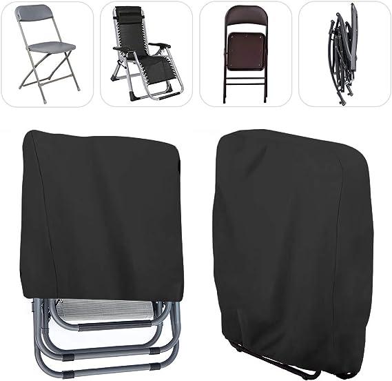 Cheyliszi Housse de chaise de jardin pliante imperméable et résistante aux UV Noir pour la maison et le jardin