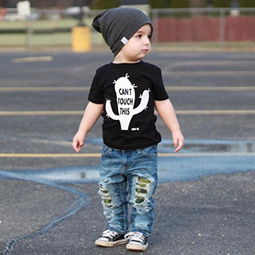 Tops Summer Hole Short Jeans New Junjie Cactus 2Pcs Crewneck Black Sleeve Shirt T Outfits Break Printed Toddler Sets Boys Baby Kid Letter Pants fqd6aR5d