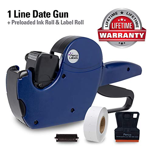Perco 1 Line Date Gun: 8 Digit 1 Line Date Label Gun Preloaded with Roll of 1000 White Labels, Preloaded Ink Roll