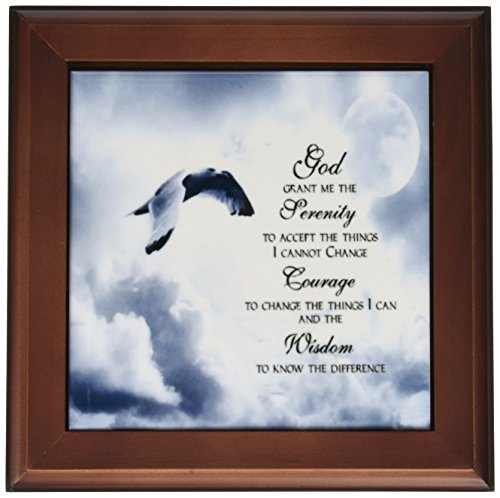 3dRose ft_52227_1 The Serenity Prayer a Beautiful Dove One of a Kind Graphic Will Inspire All Framed Tile, 8 by 8-Inch