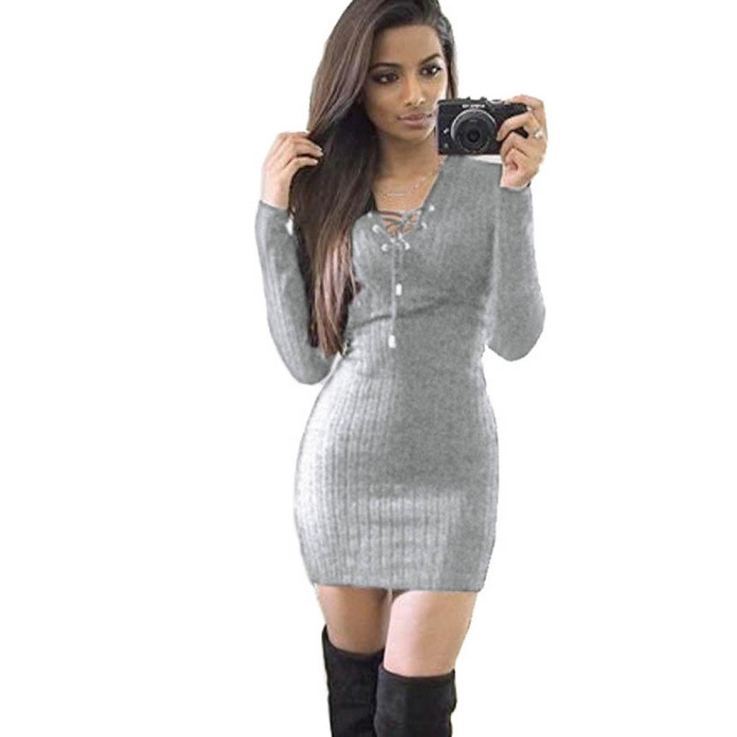 Snowfoller Women Winter Knitted Deep V Sexy Dress, Simple Fashion Ladies Casual Long Sleeve Chest Tie BodyCon Sweater Dress Elegant Package Hip Skirt Pencil Dress (M, Gray)