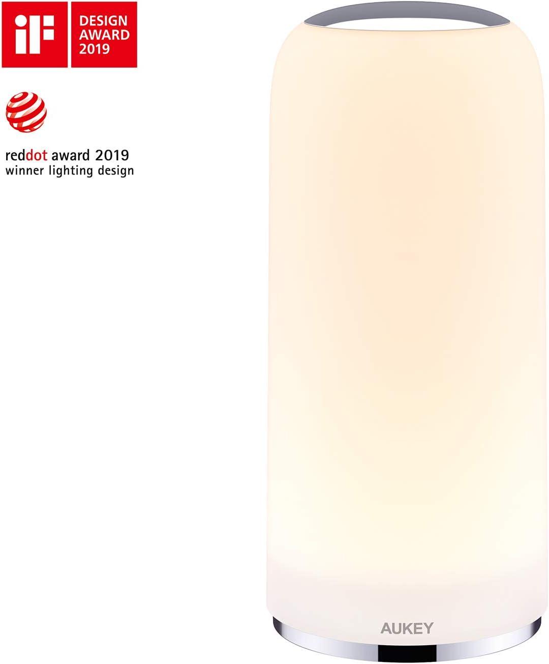 AUKEY Lámpara de Mesa Lámpara de Noche Táctil con Luz Blanca Cálida para Habitación y Sala de Estar