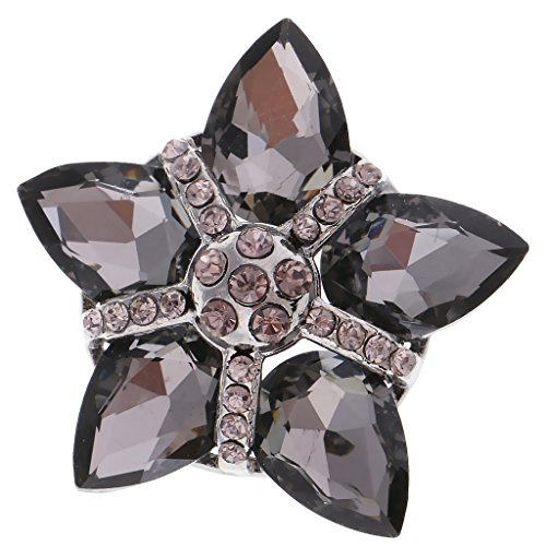 Baoblaze 35mm Floral Diamante Button Crystal Rhinestone Shank DIY Sew on Bling Craft - Black, 35 x 35mm