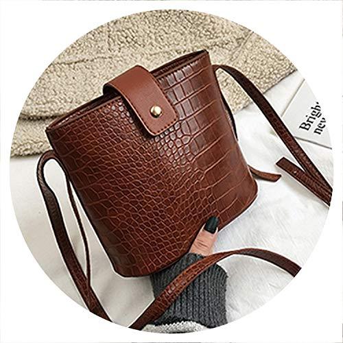 Vintage Leather Stone Pattern Crossbody Bags For Women New Shoulder Bag Fashion Handbags And Purses Zipper Bucket Bags,Brown,20Cmx18Cmx10Cm