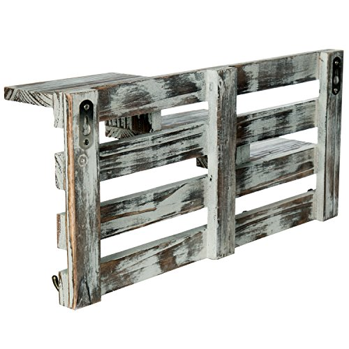MyGift Rustic Torched Wood Wall Mounted Entryway Organizer Display Shelf Rack with 4 Key Hooks by MyGift (Image #4)