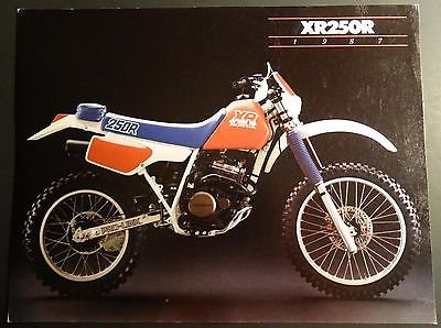 1987 HONDA MOTORCYCLE XR250R SALES BROCHURE SINGLE PAGE 2 SIDED (314)