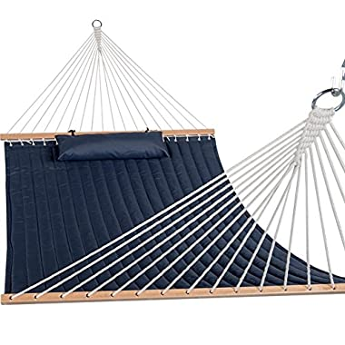 "Sundale Outdoor Quilted Fabric Hammock Swing with Hardwood Spreader Bar and Poly Pillow, 55"" Double, Navy Blue"