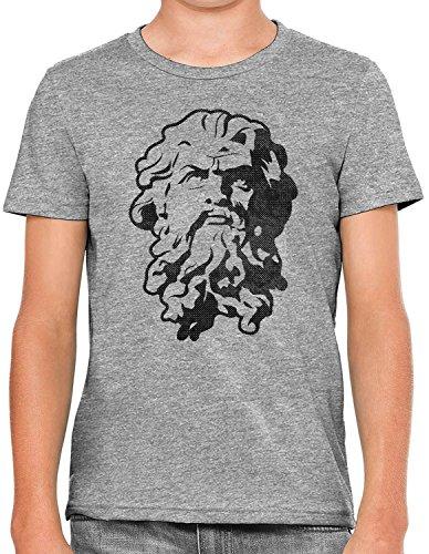 Austin Ink Apparel Greek God Statue Stencil Soft Kids Unisex Girls Cotton Tee, Heather Grey, L -